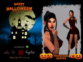 Sims 4 — Halloween Vampire Pantyhose and Gloves -Collaboration BR by LYLLYAN — Set Pantyhose and Gloves in 2 models. Base