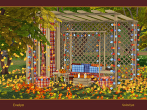 Sims 4 — Evelyn by soloriya — A set of furniture with autumn vibes. Includes 11 objects, has 3 color palettes. Items in
