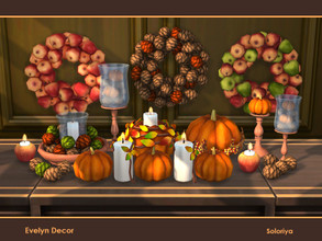 Sims 4 — Evelyn Decor by soloriya — A set of decorative items for your any rooms. Includes 10 objects, has 3 color