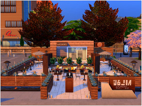 Sims 4 — Simple Dinner by lotsbymanal — A small modern restaurant with a beautiful outdoor seats.