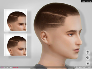 Sims 4 — Crewcut N2 by TsminhSims — Available in HAIR / HAT / FACIAL HAIR category. 16 colors (base + mirror) You can