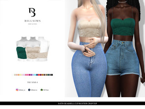 Sims 4 — Satin Seashell Cup Bustier Crop Top by Bill_Sims — Female, Teen-Elder Custom Shadow Map HQ Mod Compatible