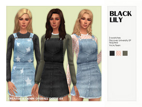Sims 4 — Sweater & Denim Overall Dress 03 by Black_Lily — YA/A/Teen 3 Swatches New item