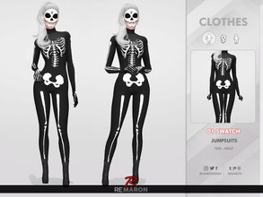 Sims 4 — Halloween Skull Costume 01 by remaron — -01 Swatch available -Custom CAS thumbnail -Base Game compatible. I hope
