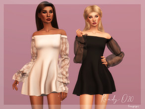 Sims 4 — Off Shoulder Dress - DR358 by laupipi2 — New off shoulder dress with transparent sleeves. Enjoy!! New mesh, all