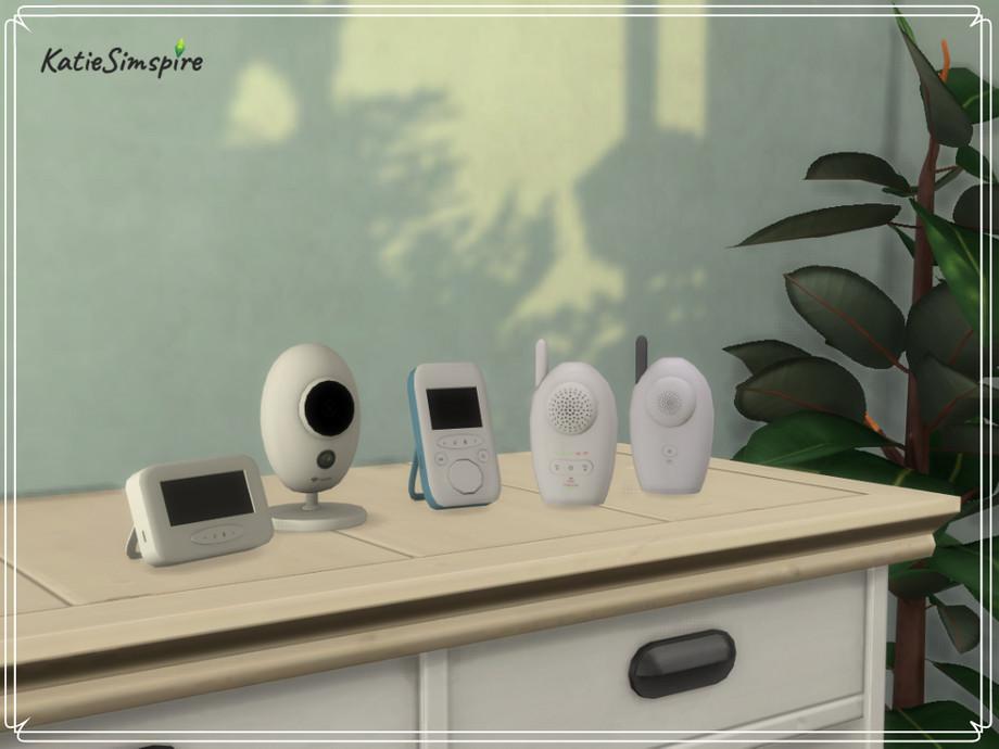 Sims 4 - Monitores para bebés de Katiesimspire - Set de decoración con monitores para bebés.  Elementos del set: - Cámara - Video bebé