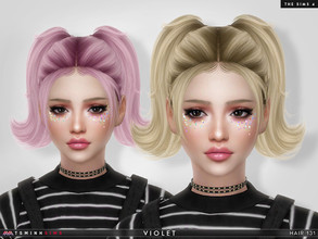 Sims 4 — Violet ( Hair 131 ) by TsminhSims — New meshes - 20 colors - HQ texture - Custom shadow map, normal map - All