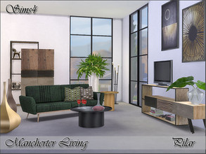 Sims 4 — Manchester Living by Pilar — Industrial style, mango wood, steel and fiber cement