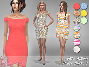 Sims 4 — Dress Mirka 1 - NEW MESH by Jaru_Sims — New Mesh HQ mod compatible All LODs 10 swatches Teen to elder Custom