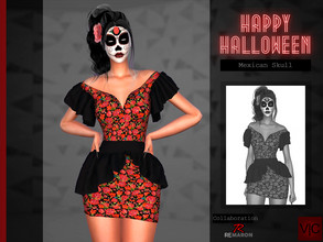 Sims 4 — Mexican Skull - Halloween VI by Viy_Sims — HAPPY HALLOWEEN!! New Mesh!! 2 colors Compatible with HQ mode MakeUp