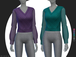 Sims 4 — pipco - instinct blouse. by Pipco — a stylish cropped blouse with transparent sleeves.
