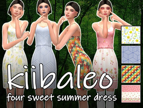 Sims 4 — Kii's Sweet Pattern Sundress by kiibaleo — 4 patterns for flowy sundress! Mesh included! HD Texture!
