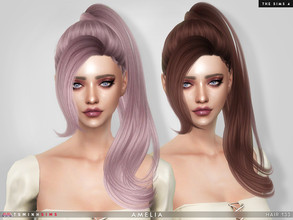 Sims 4 — Amelia ( Hair 133 ) by TsminhSims — New meshes - 20 colors - HQ texture - Custom shadow map, normal map - All