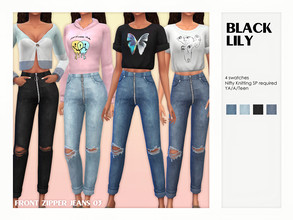 Sims 4 — Front Zipper Jeans 03 by Black_Lily — YA/A/Teen 4 Swatches New item