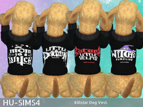 Sims 4 — Killstar Dog Vest - Pets by hu-sims4 — Killstar Dog Vest 4 swatches Pet expansion pack required