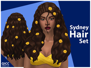 Sims 4 — Sydney Hair Set by qicc — Enjoy! - Maxis Match - Base game compatible - Hat compatible - Teen - Elder - 18 EA