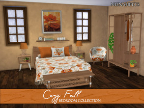 Sims 4 — Cozy Fall Bedroom {Mesh Required} by neinahpets — A recoloring of the textiles for the Naturalis Bedroom by