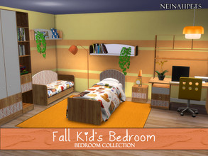 Sims 4 — Fall Kid's Bedroom {Mesh Required} by neinahpets — A watercolor fall recolor of Severinka's Anika bedroom. Such