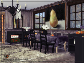 Sims 4 — Halloween-dining room by Danuta720 — $6664 size: 8x5 The room was created on the short wall. CC's needed for