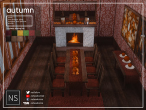 Sims 4 — Autumn Dining - Networksims by networksims — A 18-piece dining set in matching wood and fabric colours.