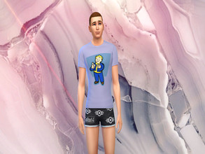 Sims 4 — Fallout 4 T-Shirt and Shorts [SET] by hannahgaskarth2 — A Fallout 4 set including a basic white fallout t-shirt