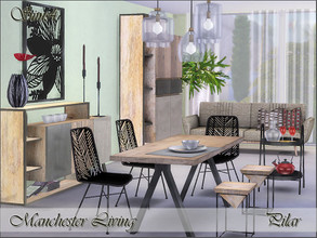 Sims 4 — Manchester Dining by Pilar — Industrial style, mango wood, steel and fiber cement