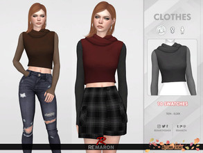 Sims 4 — Autumn Hoodie for Women 01 by remaron — ==== MESH EDIT ==== -10 Swatches available -All lods -Custom CAS