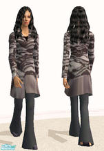 Sims 2 — Long Coat and Slacks-Black/White by RockinRobin — For some reason, the outfit blurs when I pause the game to