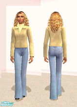 Sims 2 — Leather Coat in Lemon Yellow by RockinRobin — Pastel leathers are a stylish way to brighten any winter day. This