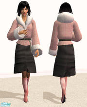 Sims 2 — Fur Collar Coat with Skirt in Pink by RockinRobin — Stylish coat in pink tweed with a fur collar combined with a