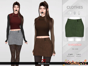 Sims 4 — Autumn Skirt for Women 01 by remaron — ==== MESH EDIT ==== -10 Swatches available -All lods -Custom CAS