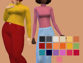 Sims 4 — Tucked Turtleneck by glutenfreesims — base game frankenmesh base game compatible 19 swatches sorted under