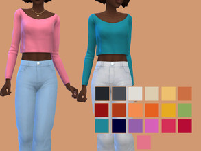 Sims 4 — Long Sleeve Crop Top by glutenfreesims — base game frankenmesh base game compatible 19 swatches sorted under