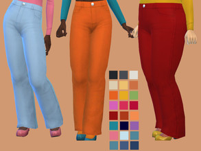 Sims 4 — Denim High Waist Flares by glutenfreesims — base game mesh edit base game compatible 24 swatches sorted under