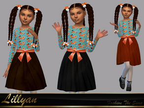 Sims 4 — Dress Polyana by LYLLYAN — Dress in 3 colors . Base game.