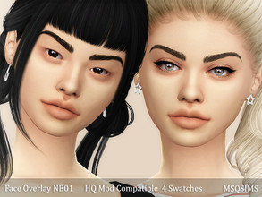 Sims 4 — Face Overlay NB01 by MSQSIMS — - Base Game - 4 Swatches / Light and Medium / Asia Light and Asia Medium - Female