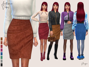 Sims 4 — AutumnVibes by Paogae — Suede skirt in eight colors, a timeless classic that returns to the spotlight every