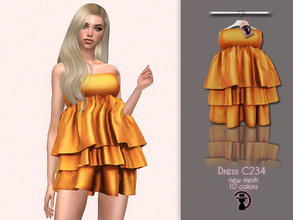 Sims 4 — Dress C234 by turksimmer — 10 Swatches Compatible with HQ mod Works with all of skins Custom Thumbnail New Mesh