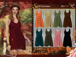 Sims 4 — DSF Dress Avellana by DanSimsFantasy — Short sleeveless loose dress, its fabric is thick, flexible and soft. It