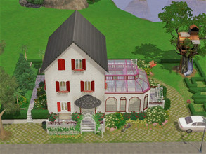Sims 3 — Red cottage empty 30x20 no cc by sgK452 — house with swimming pool and veranda. It's up to you to furnish the