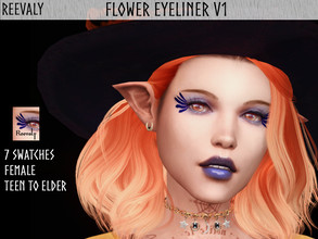 Sims 4 — Flower Eyeliner V1 by Reevaly — 7 Swatches. Teen to Elder. For Female. Base Game compatible. Please do not