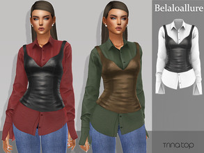 Sims 4 — Belaloallure_Trina top by belal19972 — Simple shirt underneath leather top .enjoy :)