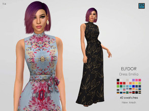 Sims 4 — Dress Emilia by Elfdor — - 40 swatches - new mesh all LODs - everyday, formal, party - teen to elder - real in