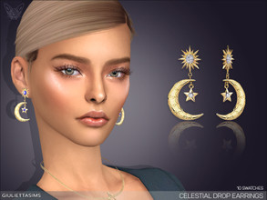 Sims 4 — Celestial Drop Earrings by feyona — * 10 swatches * Base game compatible, feminine style choice, disallowed for