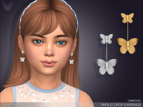 Sims 4 — Papilio Drop Earrings For Kids by feyona — * 5 swatches * Base game compatible, feminine style choice,