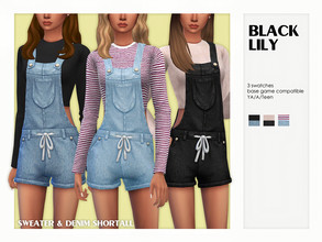 Sims 4 — Sweater & Denim Shortall by Black_Lily — YA/A/Teen 3 Swatches New item Edited EA mesh by me