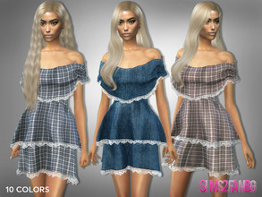 Sims 4 — 309 - Off Shoulder Layered Dress by sims2fanbg — .:309 - Off Shoulder Layered Dress:. Dress in 10 different
