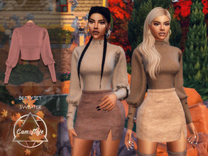 Sims 4 — Camuflaje - Betty Set (Sweater) by Camuflaje — ** Part of the set ** * New mesh * Compatible with the base game