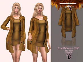 Sims 4 — Coat&Dress C238 by turksimmer — 5 Swatches Compatible with HQ mod Works with all of skins Custom Thumbnail