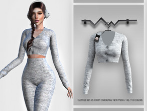Sims 4 — Clothes SET-95 (CROP CARDIGAN) BD357 by busra-tr — 10 colors Adult-Elder-Teen-Young Adult For Female Custom